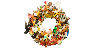 100 chickens, wreath by magpie